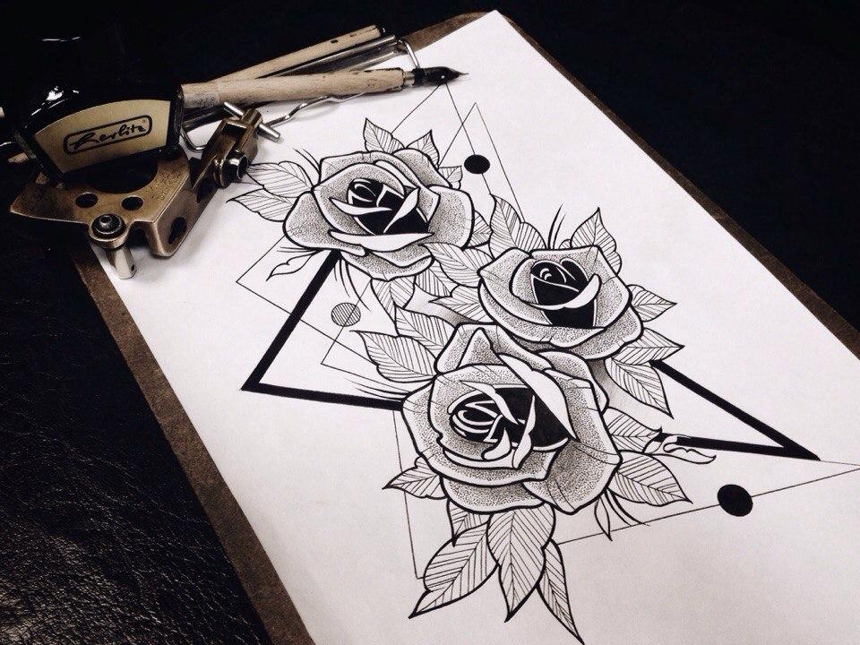 тату в стиле скетч розы фото приготовить